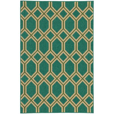 Seaside Teal & Green Indoor/Outdoor Area Rug Rug Size: 37 x 56