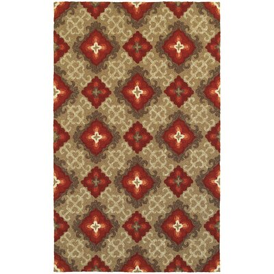 Atrium Floral Panel Brown & Red Indoor/Outdoor Area Rug Rug Size: 8 x 10
