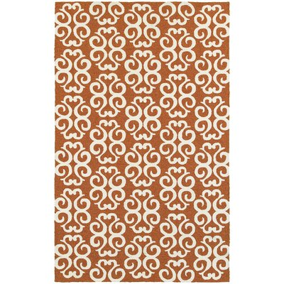 Atrium Scroll Work Brown/Ivory Indoor/Outdoor Area Rug Rug Size: 5 x 8
