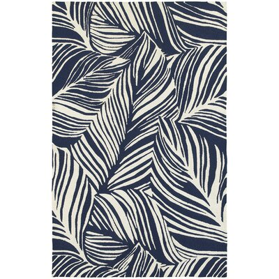 Atrium Tropical Leaf Hand-Woven Blue/Ivory Indoor/Outdoor Area Rug Rug Size: 36 x 56