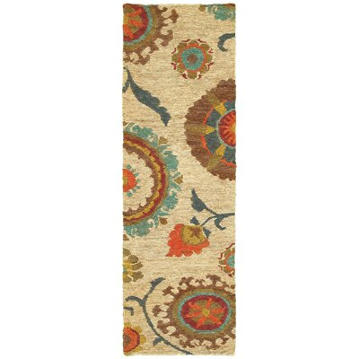 Tommy Bahama Valencia Beige / Multi Floral Rug Rug Size: Runner 26 x 8