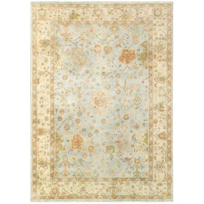 Palace Hand-Knotted Blue/Beige Area Rug Rug Size: 9 x 12