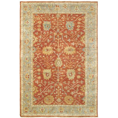 Palace Hand-Knotted Red/Beige Area Rug Rug Size: 9 x 12