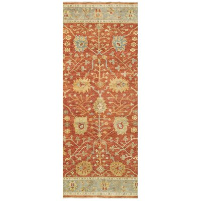 Palace Hand-Knotted Red/Beige Area Rug Rug Size: Runner 26 x 10