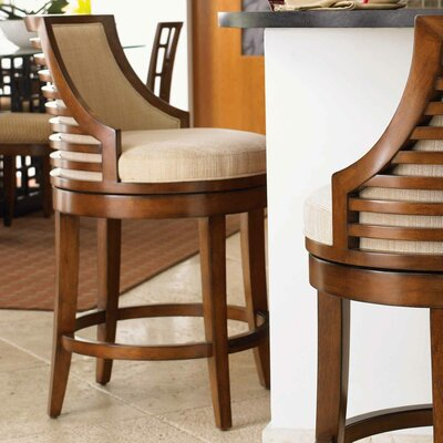 Ocean Club 30 Swivel Bar Stool Upholstery: Woven Cream