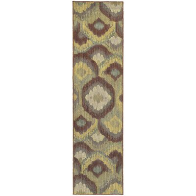 Tommy Bahama Cabana Brown / Blue Abstract Indoor/Outdoor Area Rug Rug Size: Runner 110 x 76