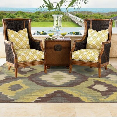 Tommy Bahama Cabana Brown / Blue Abstract Indoor/Outdoor Area Rug Rug Size: 710 x 1010