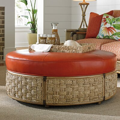 Twin Palms Leather Cocktail Ottoman