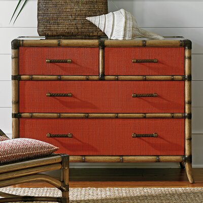 Twin Palms 4 Drawer Chest Color: Red Coral
