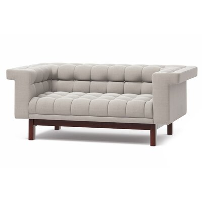 George 70 Love Seat Frame Finish: Walnut, Upholstery: Azure