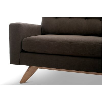 Luna Sectional with Ottoman and Bumper Body Fabric: Klein Chocolate, Leg Finish: Honey, Sectional Orientation: Left Facing