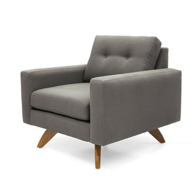 Luna Armchair Body Fabric: Klein Azure, Leg Finish: Natural Walnut