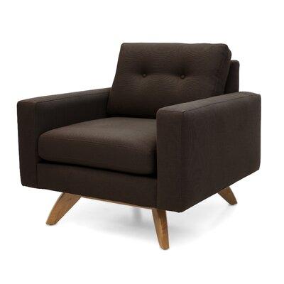 Luna Armchair Upholstery: Chocolate, Finish: Walnut