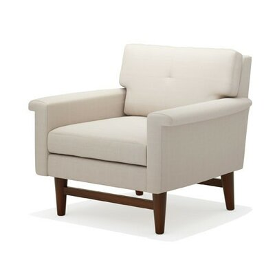 Diggity Armchair Body Fabric: Klein Dove, Leg Finish: Walnut