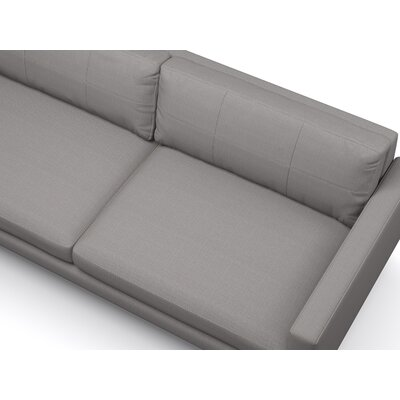 Dane Sectional Body Fabric: Klein Azure, Leg Finish: Walnut, Sectional Orientation: Left Hand Facing