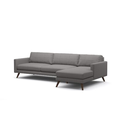 Dane Sectional Body Fabric: Klein Dove, Leg Finish: Espresso Stained Alder, Sectional Orientation: Right Hand Facing