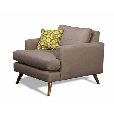 Dane Armchair Body Fabric: Klein Chocolate, Leg Finish: Natural Walnut