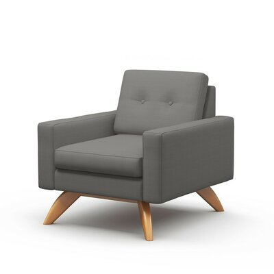 Luna Armchair Body Fabric: Klein Dolphin, Leg Finish: Natural Honey Alder