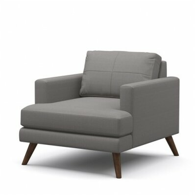 Dane Armchair Body Fabric: Klein Chocolate, Leg Finish: Walnut