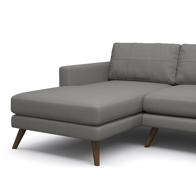 Dane 90 Sofa with Chaise Body Fabric: Klein Dolphin, Leg Finish: Honey, Sectional Orientation: Left Facing