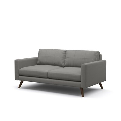 Dane 70 Loveseat Body Fabric: Klein Dolphin, Leg Finish: Walnut