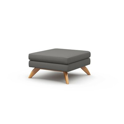 Luna Ottoman Frame Finish: Natural Honey Alder, Upholstery: Dolphin
