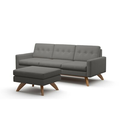 Luna Loft Sofa and Ottoman Upholstery: Charcoal, Frame Finish: Walnut