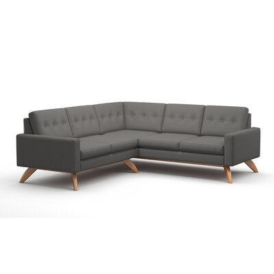 Luna Sectional Collection Body Fabric: Klein Laguna, Leg Finish: Espresso Stained Alder