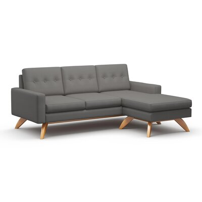 Luna Sectional Collection Body Fabric: Klein Sea, Leg Finish: Walnut