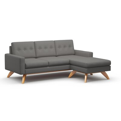 Luna Sectional Frame Finish: Walnut, Upholstery: Azure