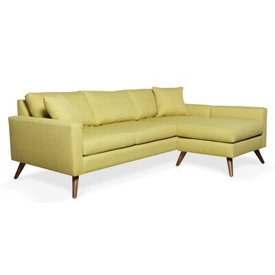 Dane Reversible Chaise Sectional Frame Finish: Walnut, Upholstery: Azure