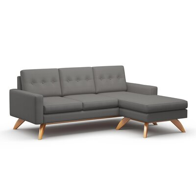 Luna Sectional Frame Finish: Walnut, Upholstery: Mouse Grey