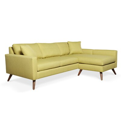 Dane Sectional Upholstery: Wheatgrass, Frame Finish: Walnut