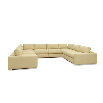 Jackson U-Shaped Sectional Sofa Frame Finish: Natural Honey Alder, Upholstery: Burlap