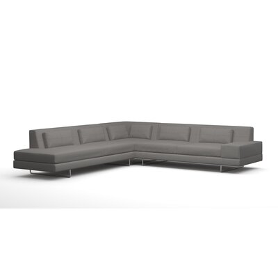 Hamlin XL Corner Sectional with Chaise Body Fabric: Klein Chocolate, Sectional Orientation: Left Facing