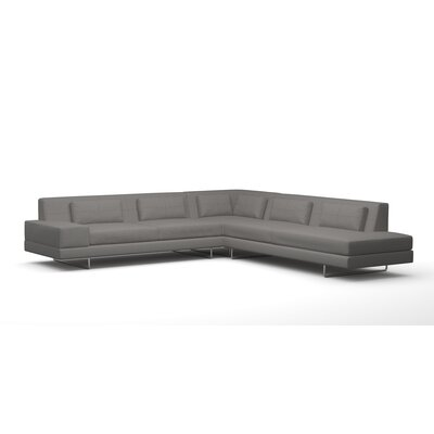 Hamlin Sectional Sofa with Bumper Material: Right Facing, Color: Dolphin Grey