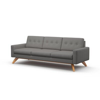 Luna Sofa Body Fabric: Klein Dolphin, Leg Finish: Espresso