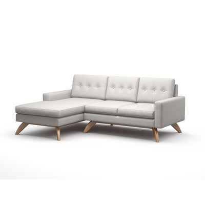 Luna Sofa with Chaise Body Fabric: Klein Dolphin, Leg Finish: Honey, Sectional Orientation: Left Facing