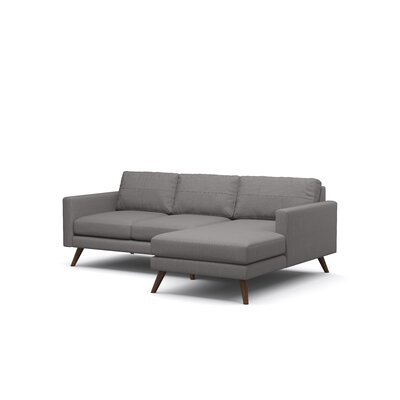 Dane Sofa with Chaise Body Fabric: Klein Dolphin, Leg Finish: Walnut, Sectional Orientation: Right Facing