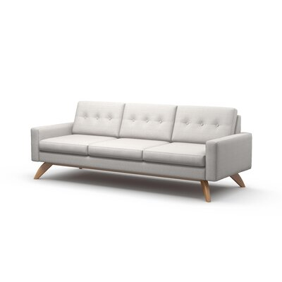 Luna Sofa Body Fabric: Klein Chocolate, Leg Finish: Natural Walnut