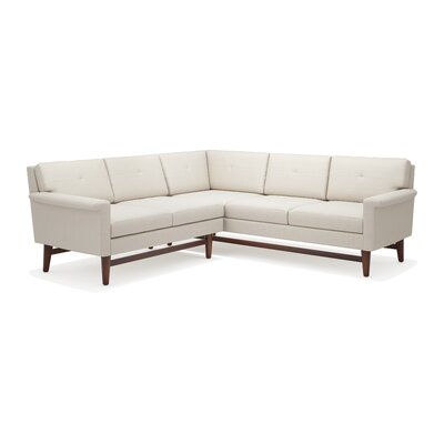 Diggity Corner Sectional Sofa Body Fabric: Klein Dolphin, Leg Finish: Honey, Sectional Orientation: Right Facing