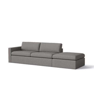 Marfa Sofa with Ottoman Body Fabric: Klein Sea, Sectional Orientation: Right Hand Facing