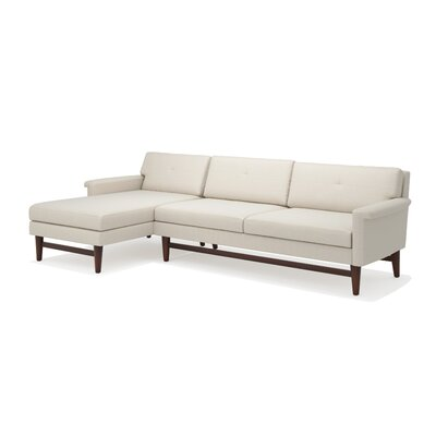 Diggity Sofa with Chaise Body Fabric: Klein Dolphin, Leg Finish: Honey, Sectional Orientation: Left Facing
