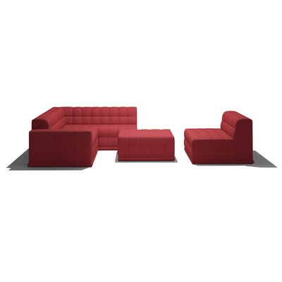 Bump Bump Modular Sectional Body Fabric: Marlow Red, Sectional Orientation: Right Hand Facing