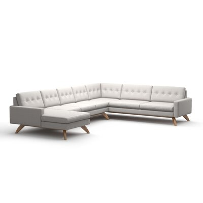 Luna Sectional Sofa with Chaise Body Fabric: Klein Dove, Leg Finish: Walnut, Sectional Orientation: Right Facing