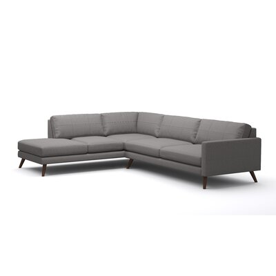 Dane Corner Sectional with Bumper Body Fabric: Klein Dolphin, Leg Finish: Honey, Sectional Orientation: Right Facing