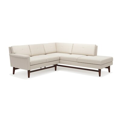 Diggity Corner Sectional Sofa with Bumper Body Fabric: Klein Dove, Leg Finish: Walnut, Sectional Orientation: Left Facing