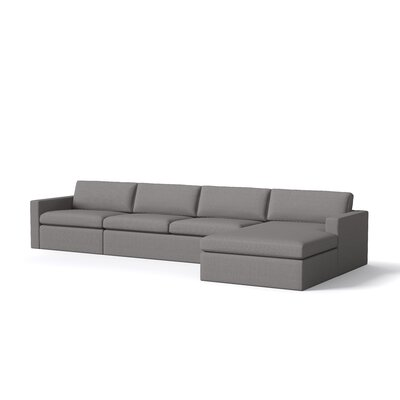 Marfa Sofa with Chaise Body Fabric: Klein Dolphin, Sectional Orientation: Right Hand Facing