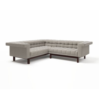 George Corner Sectional Sofa Body Fabric: Klein Dolphin, Leg Finish: Honey, Sectional Orientation: Right Facing