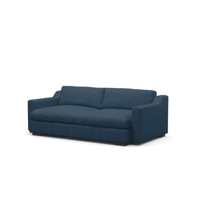 Uncle Sal Sofa Upholstery: Azure, Finish: Walnut